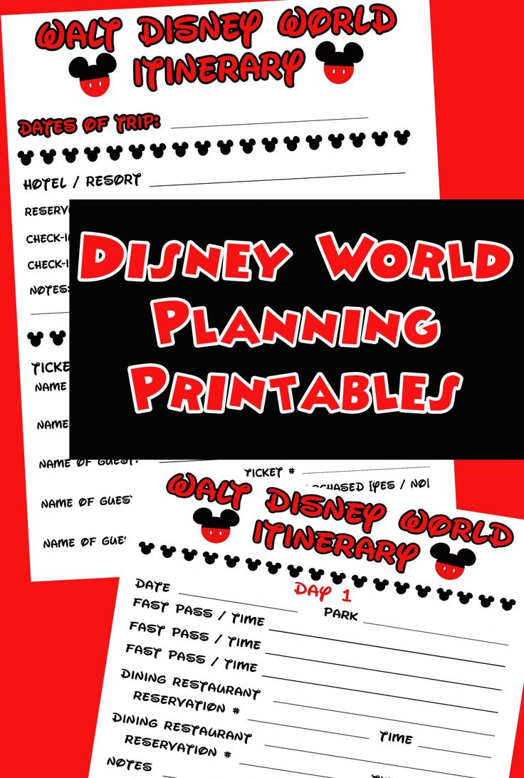 disney planning binder printables