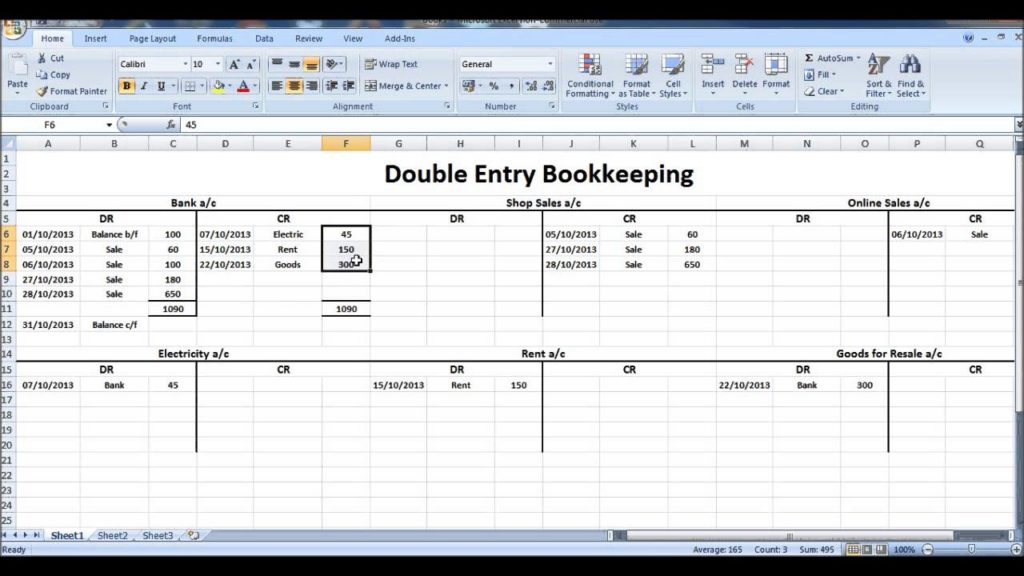 Double Entry Accounting Spreadsheet Template