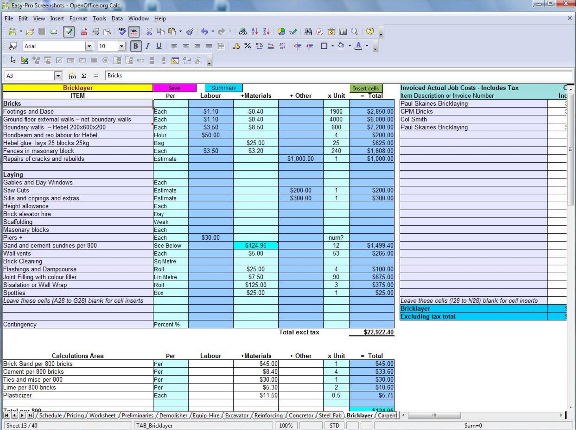 dowload free Excel Spreadsheet For Construction Estimating