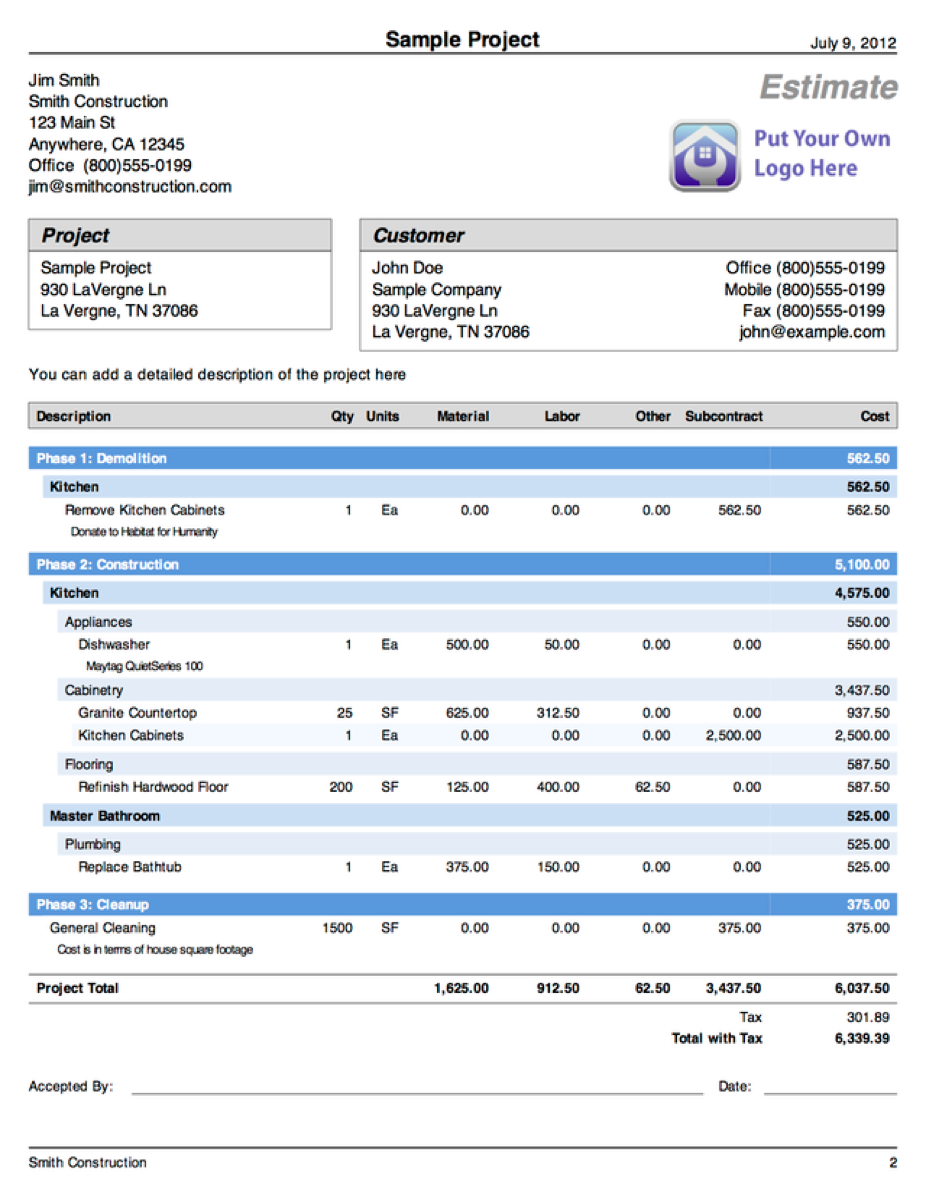 download home building cost estimate spreadsheet