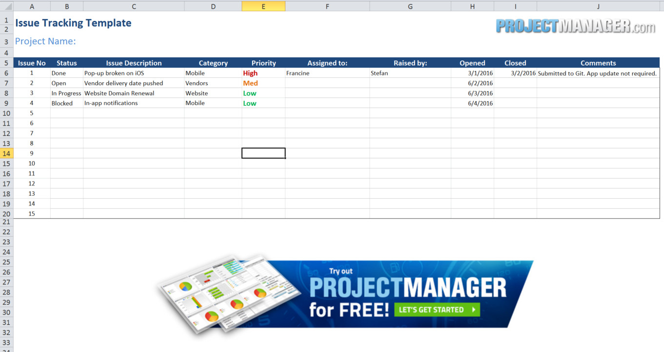 download sample issue tracking spreadsheet template excel