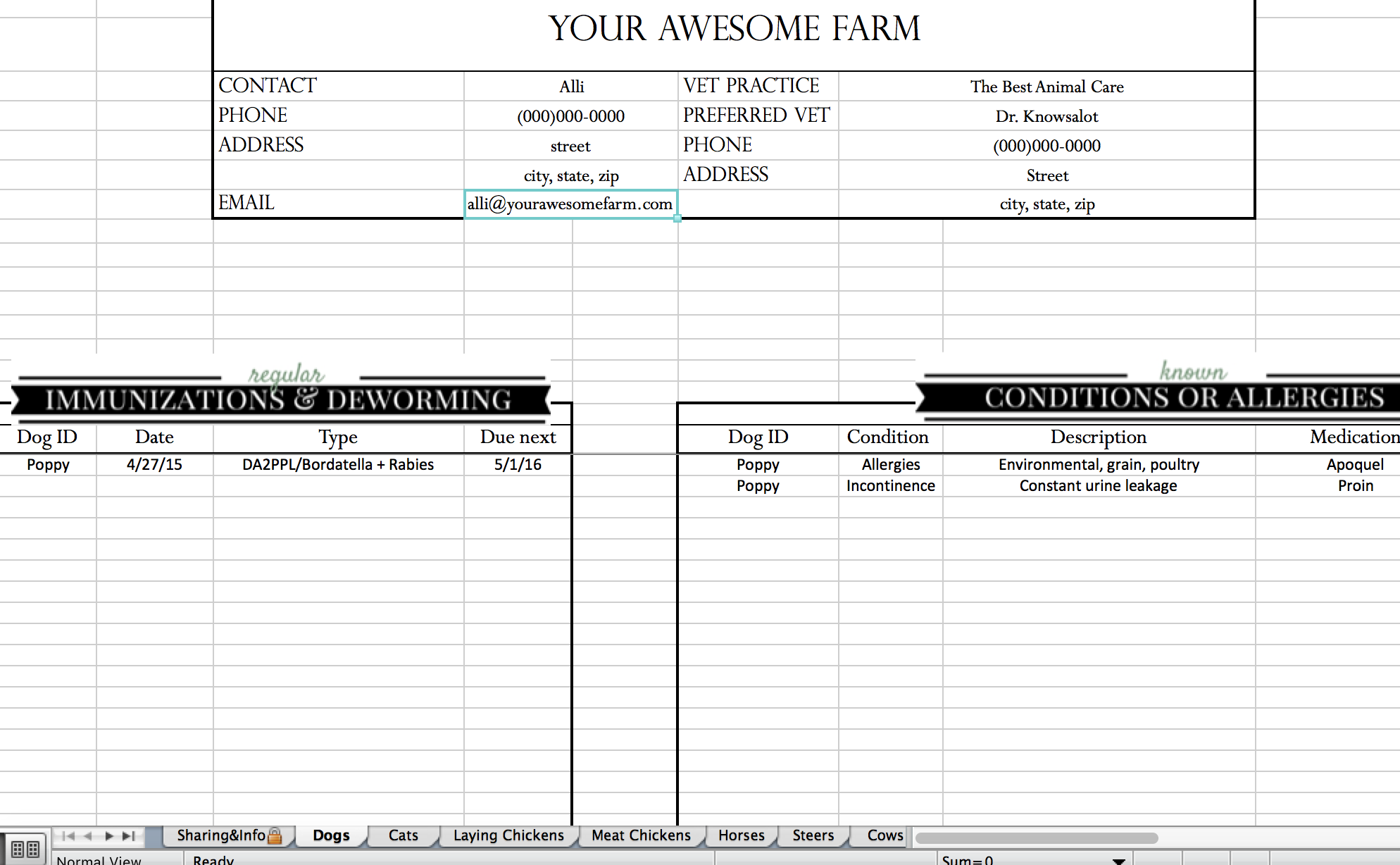downloadd cattle inventory spreadsheet