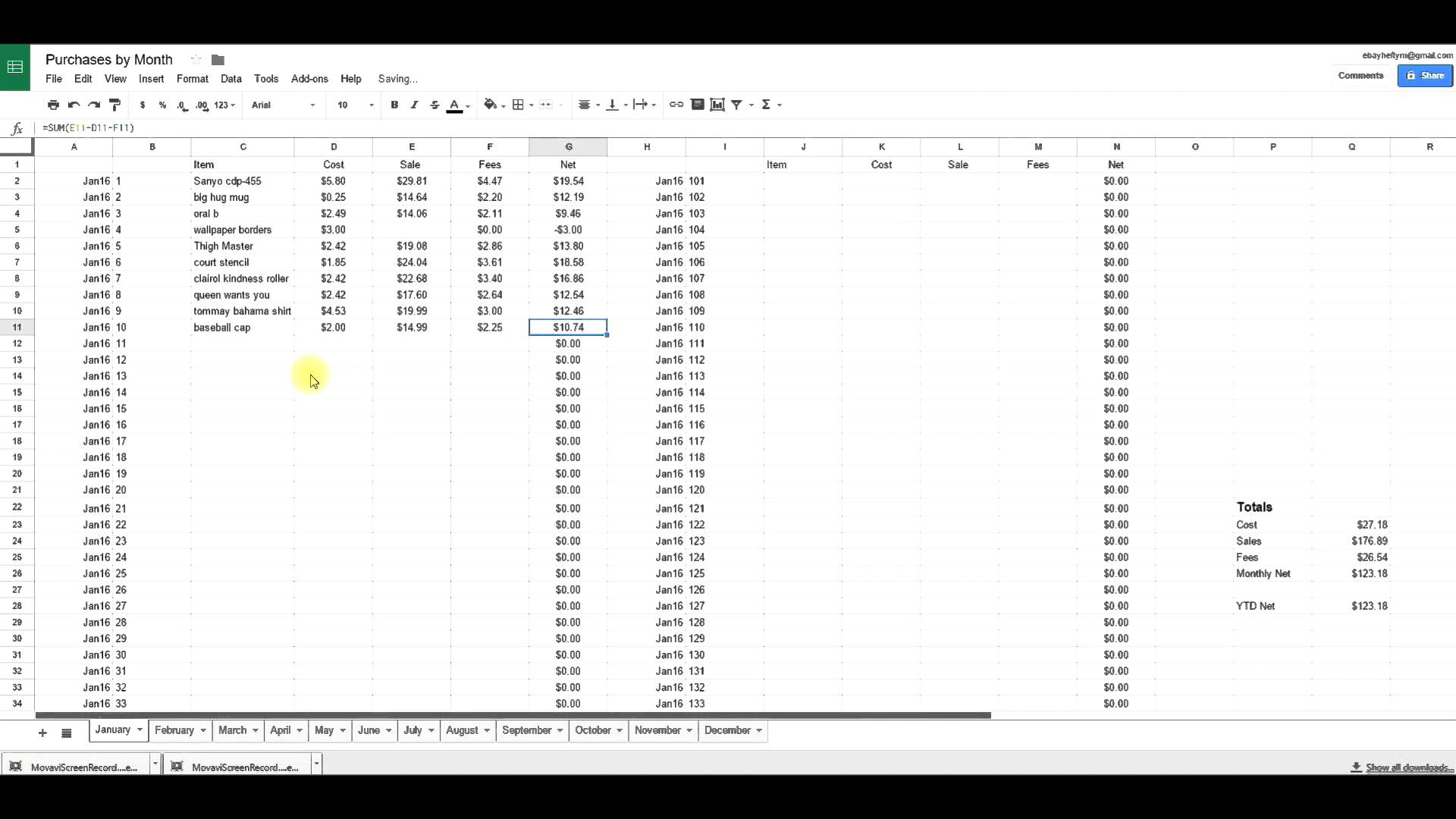 ebay profit and loss spreadsheet