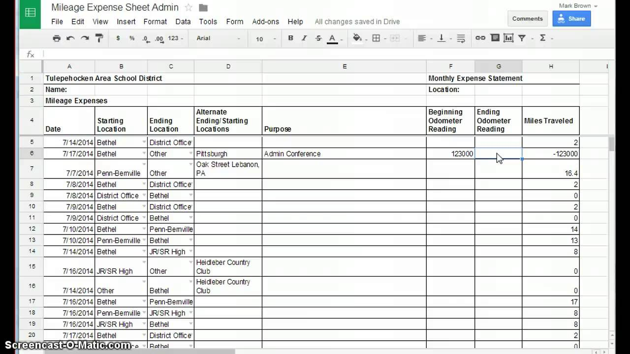 example mileage log for taxes