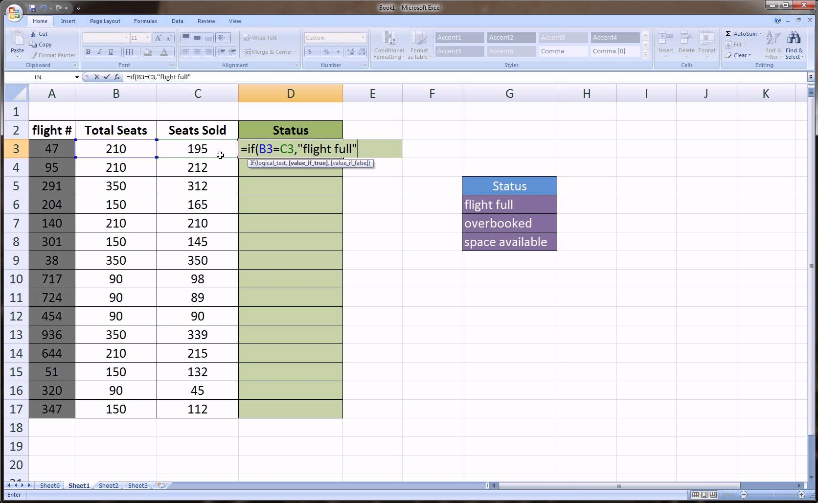 excel if then else