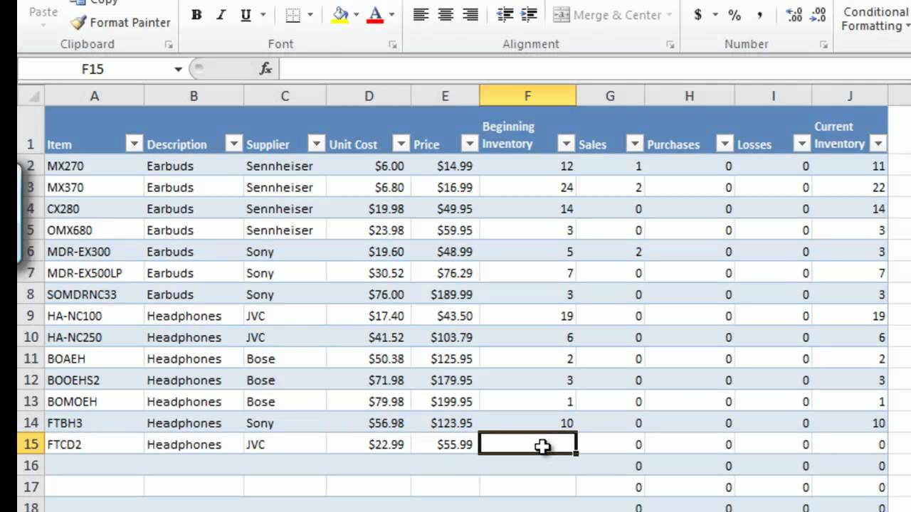 excel inventory spreadsheet template Download