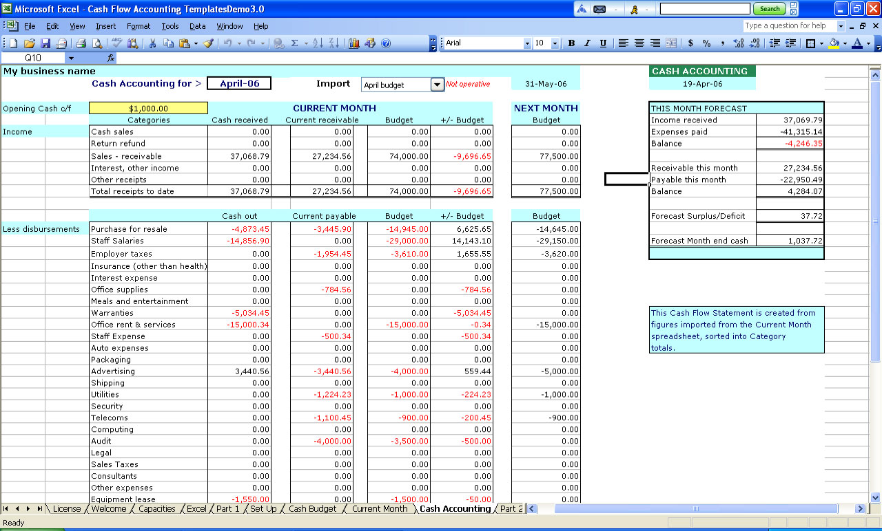 excel sheet for small business accounting