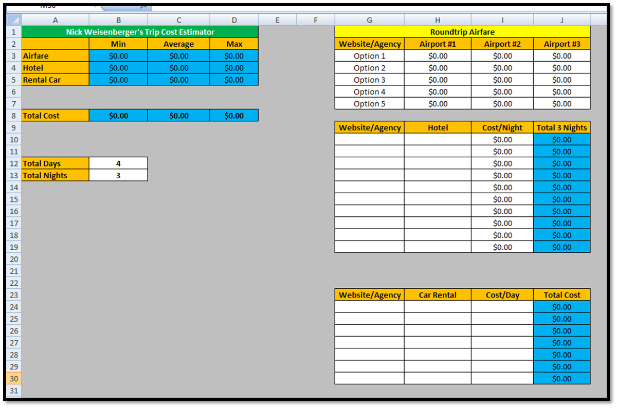 excel spreadsheet for estimating construction costs