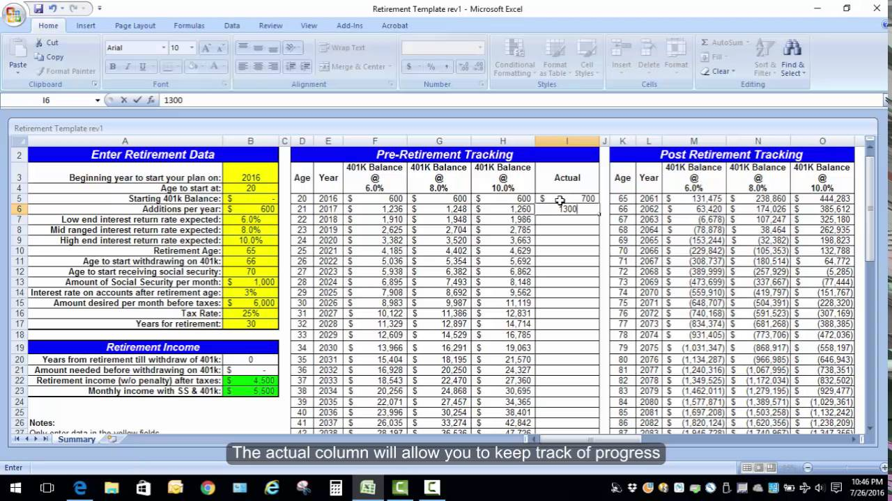 excel spreadsheet for retirement planning