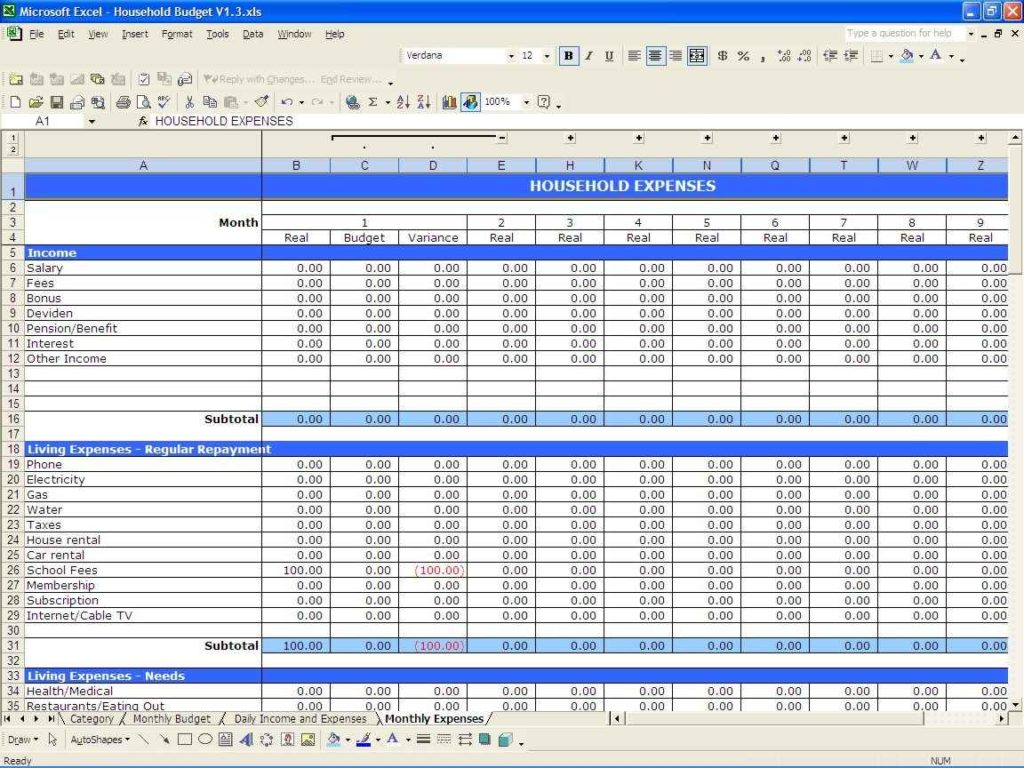 excel spreadsheet for small business