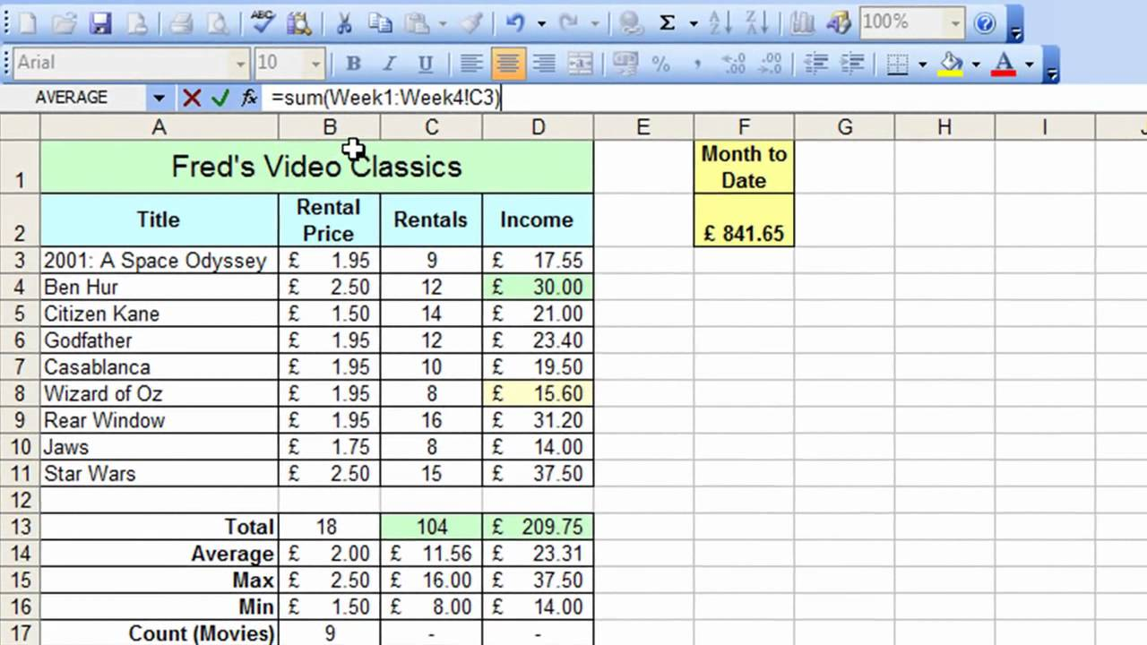excel spreadsheet practice exercises download