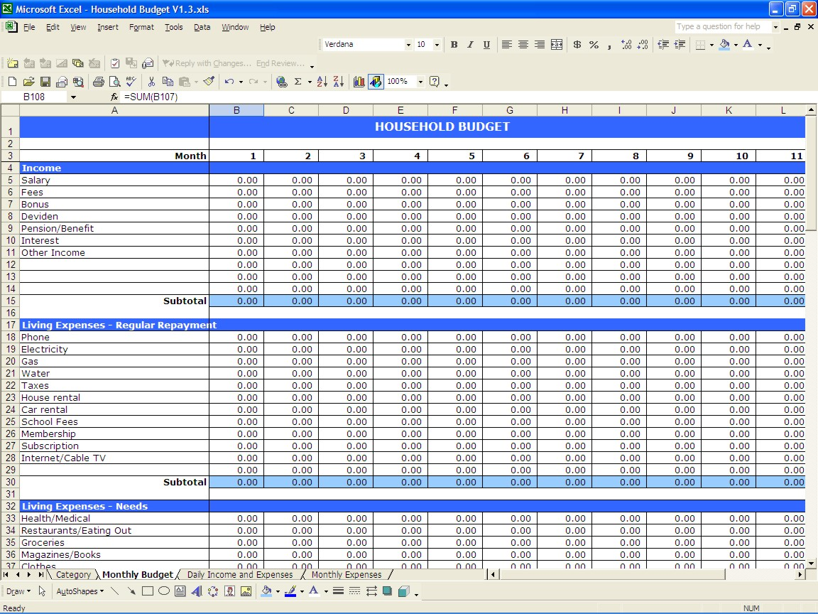 expense and income template