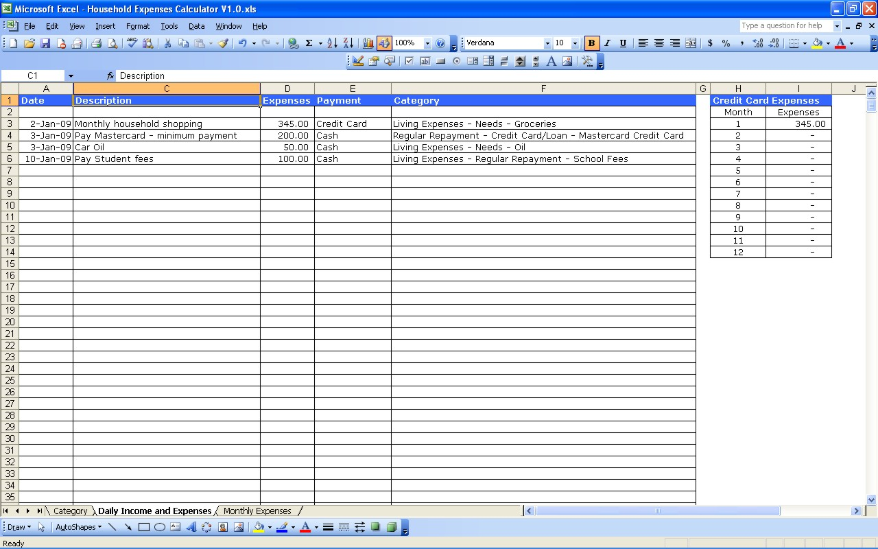 expenses and income spreadsheet excel
