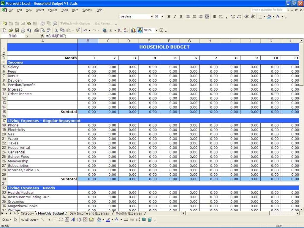 expenses and income spreadsheet template for small business
