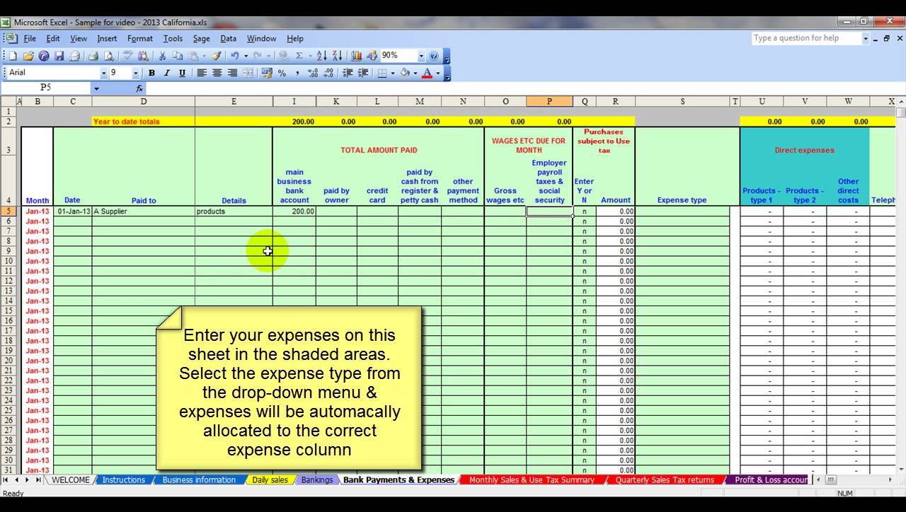 farm expense excel spreadsheet