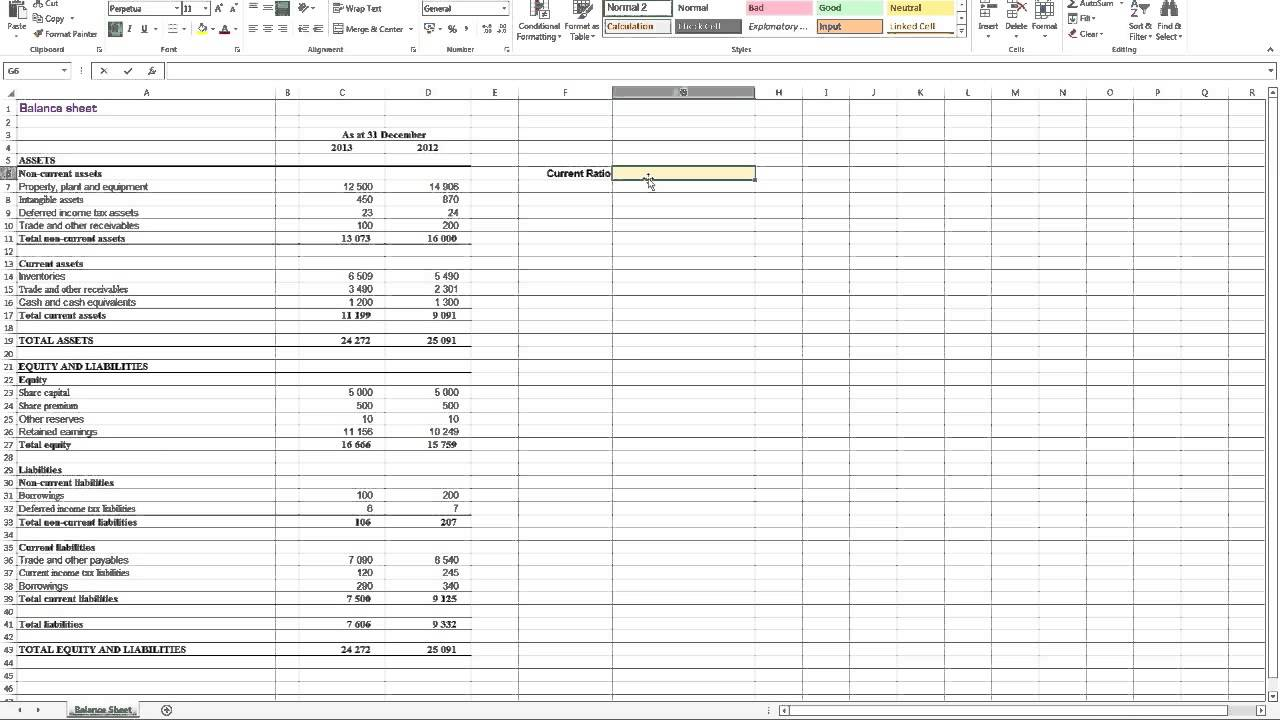 financial ratio analysis excel spreadsheet