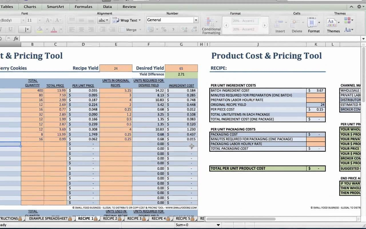 food cost spreadsheet free templates