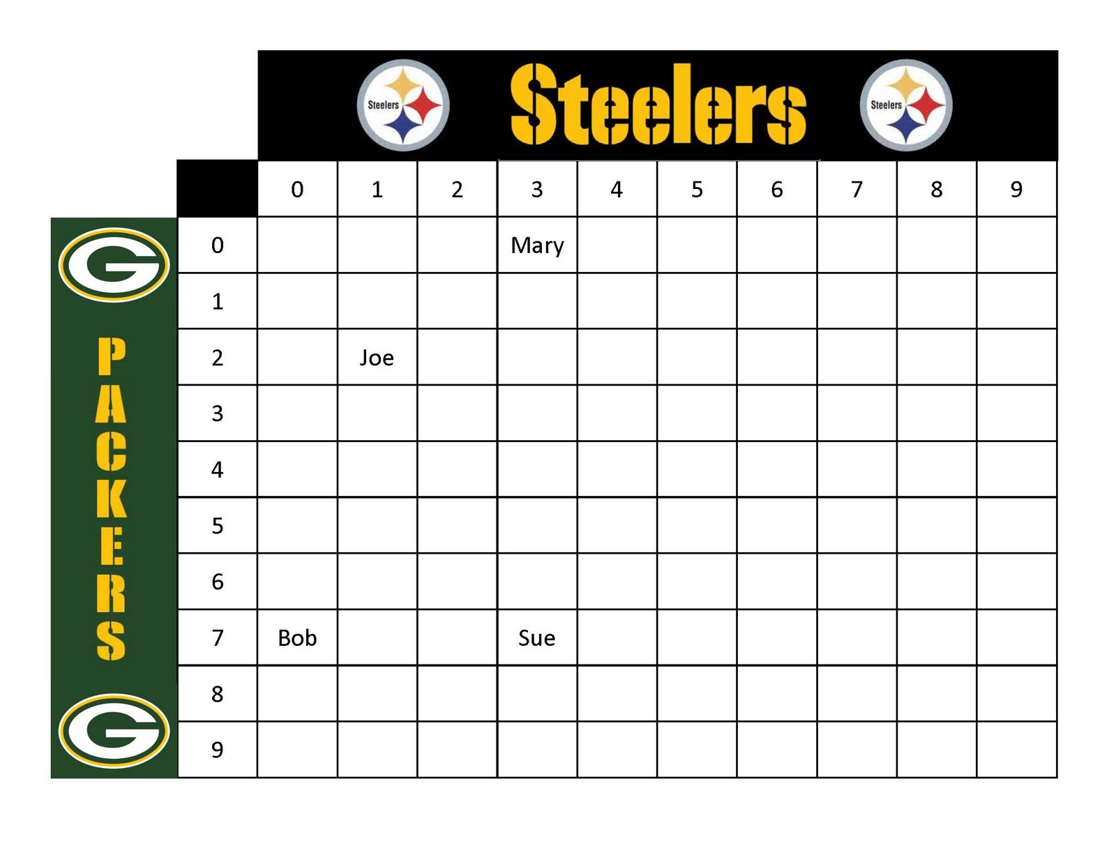 football squares template free