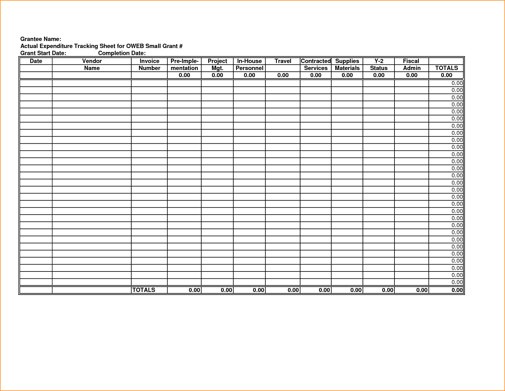 free Tracking Spending Spreadsheet