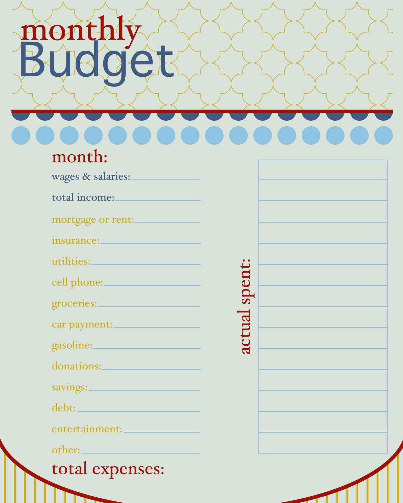 free bill spreadsheet printable