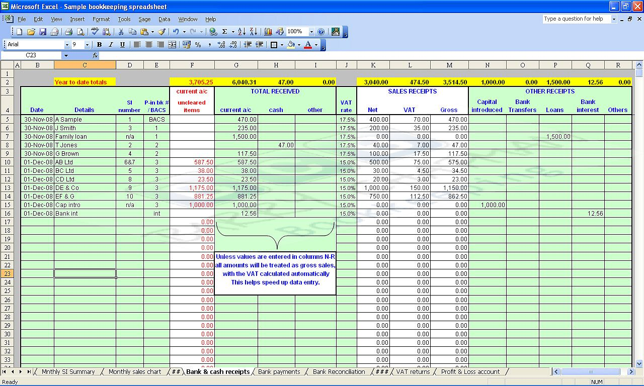 free bookkeeping spreadsheet excel