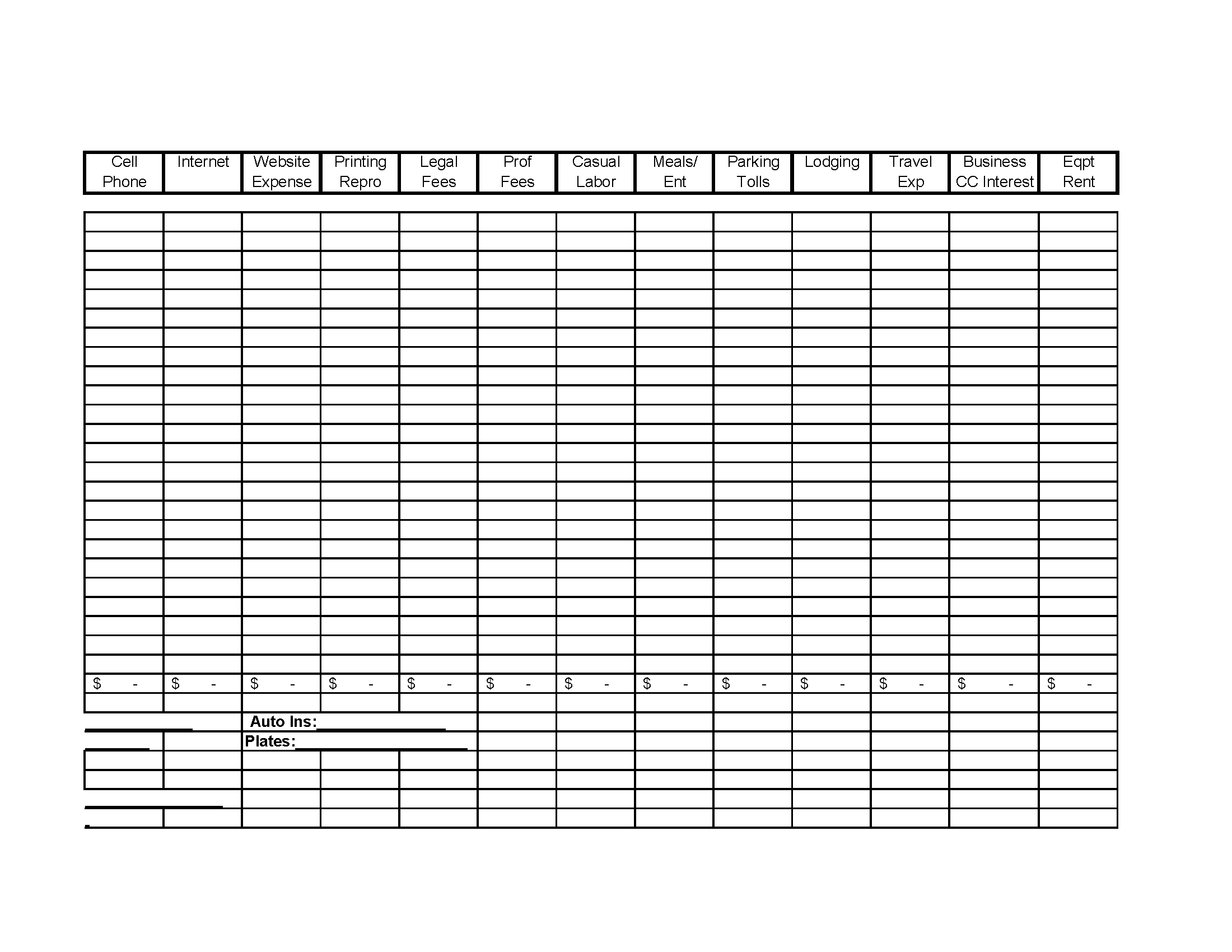 free business income and expense spreadsheet