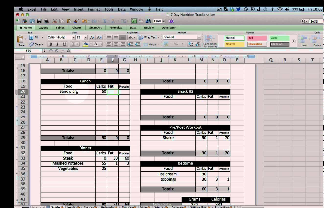 free calorie counter excel sheet
