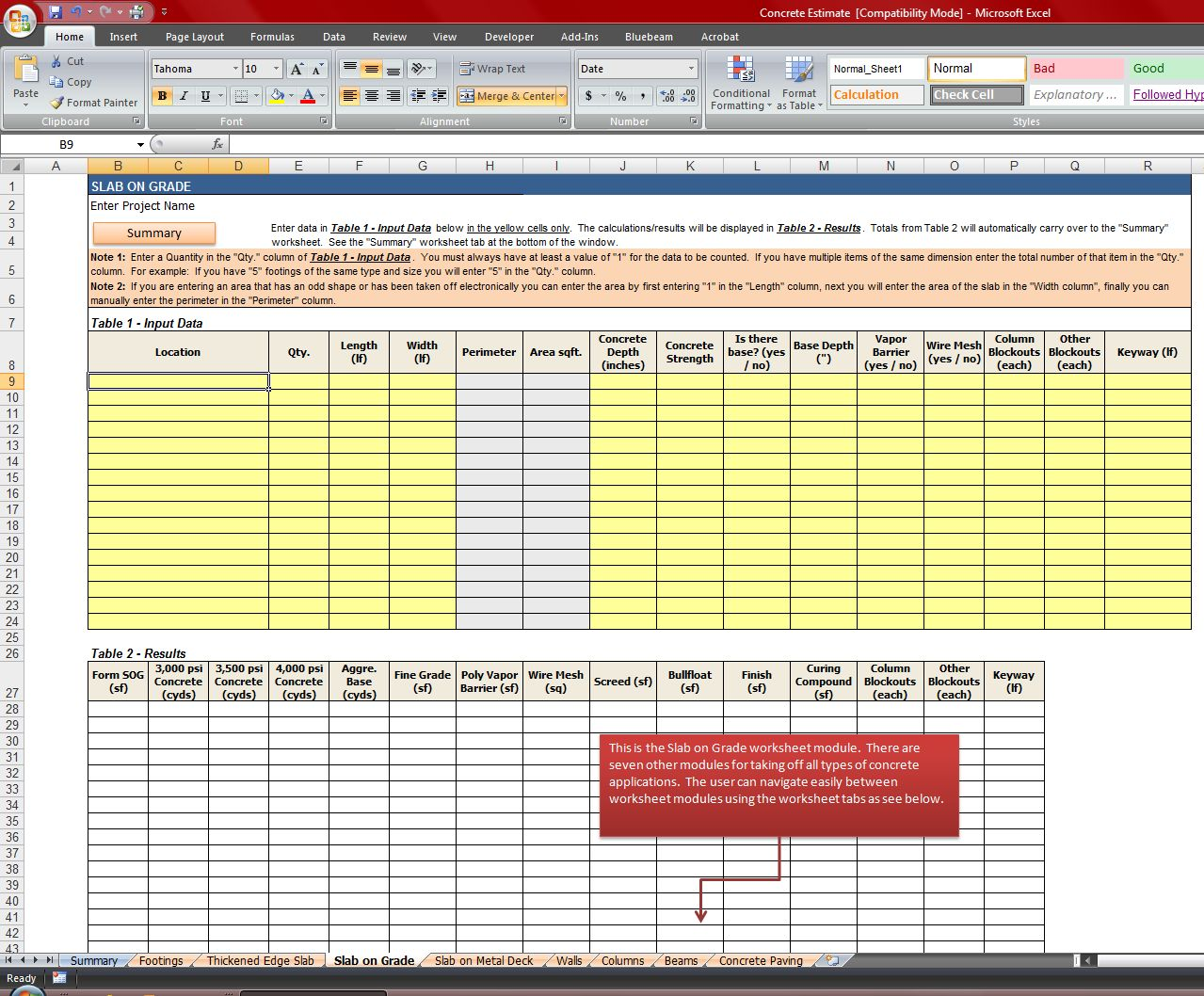 free construction material takeoff excel template