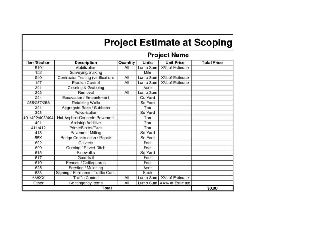 free detailed construction cost estimate spreadsheet