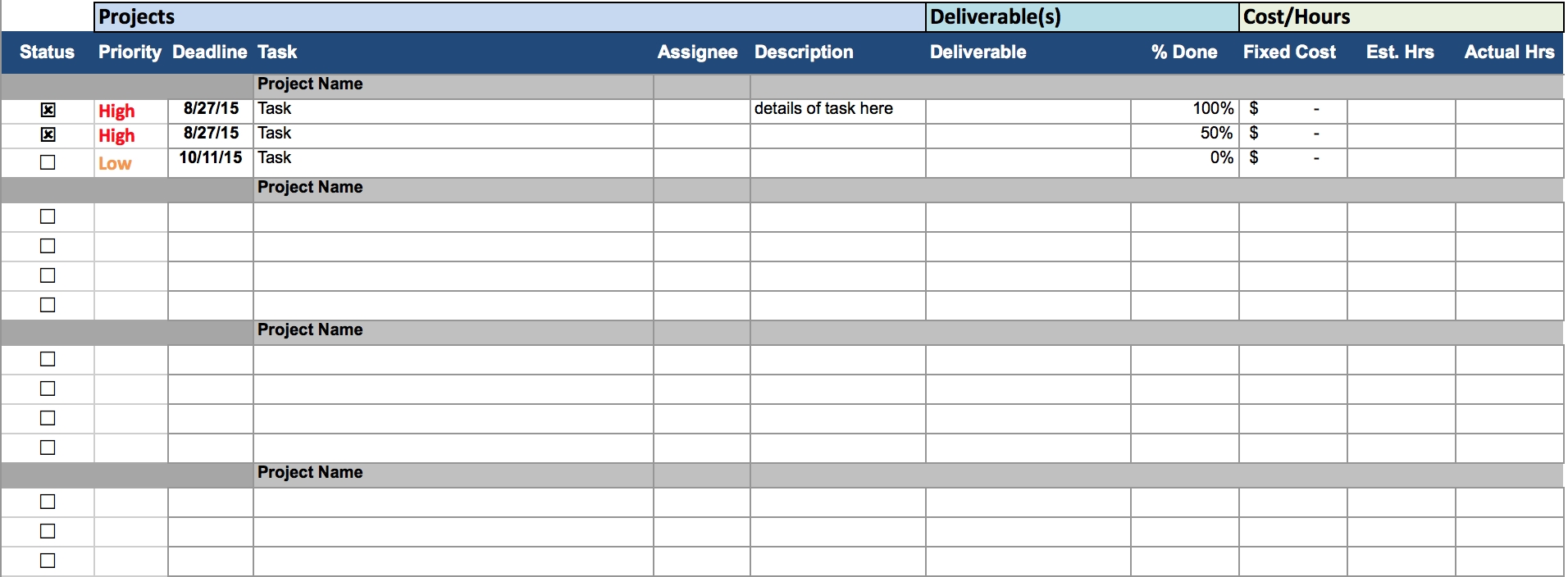 free download project management spreadsheet google docs