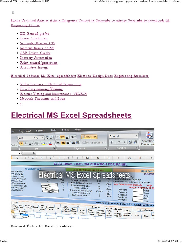 free download residential electrical load calculation spreadsheet