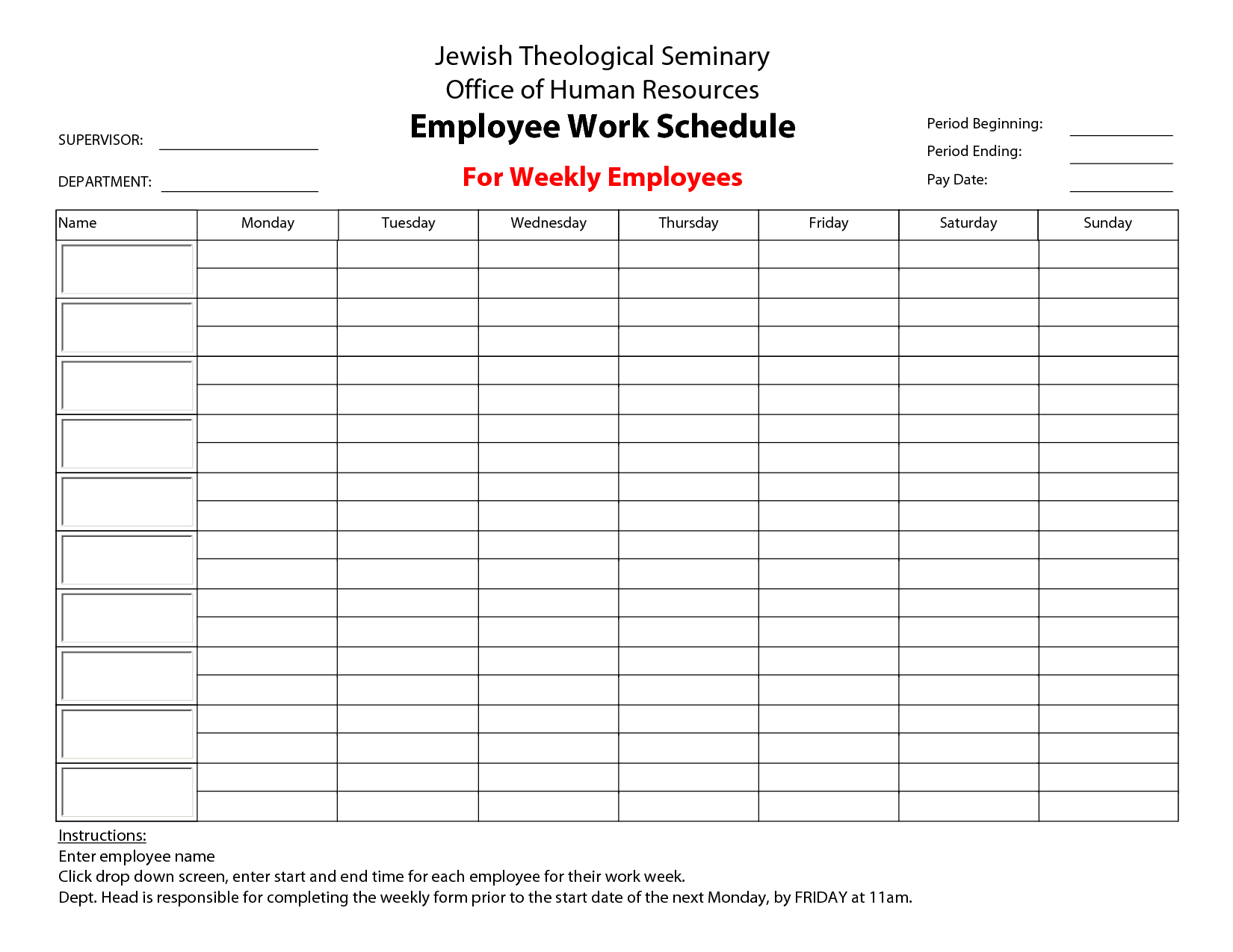 free employee work schedule template excel