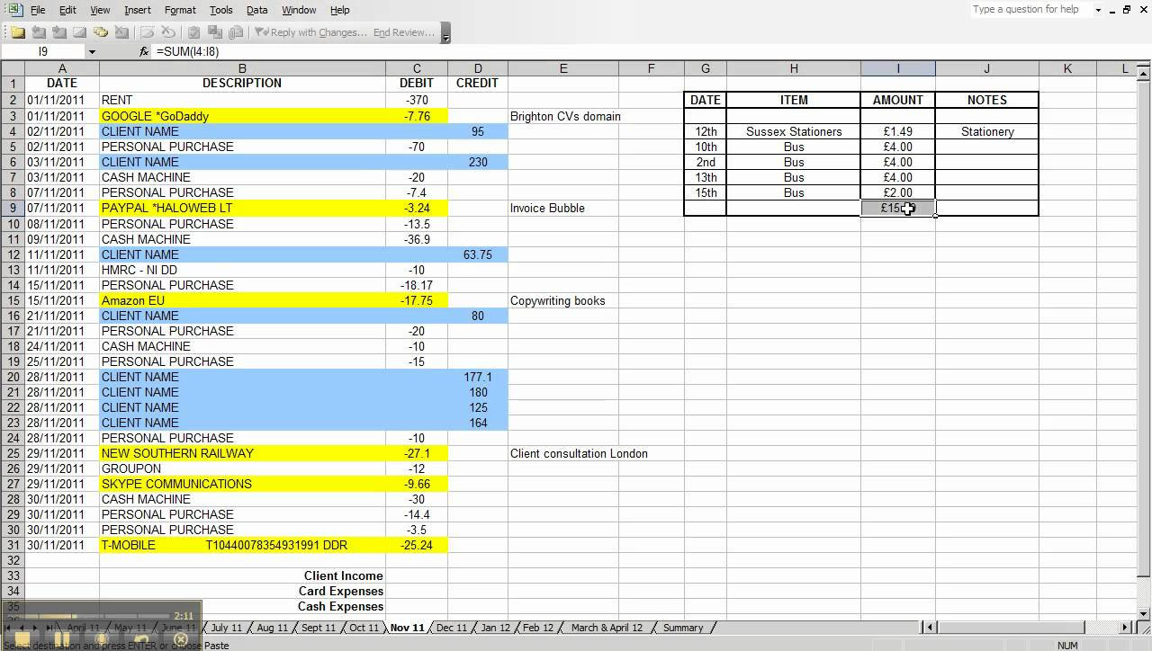 free example of business expenses spreadsheet