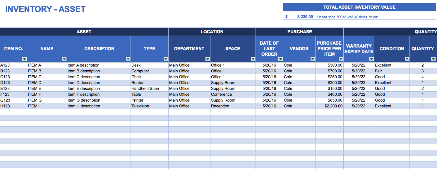 free excel templates for stock control