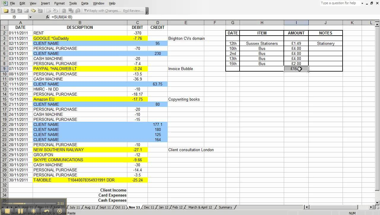 free income and expenses spreadsheet template for small business download