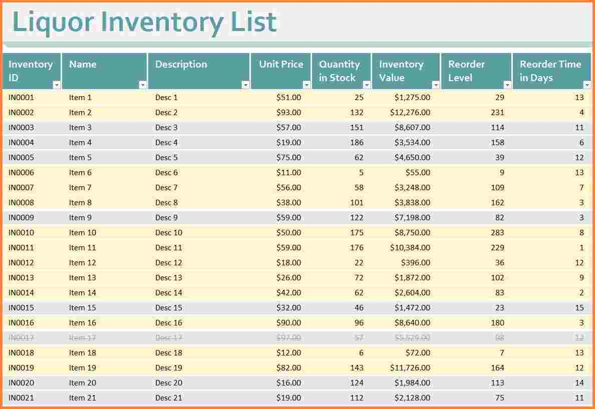 free liquor inventory spreadsheet excel download