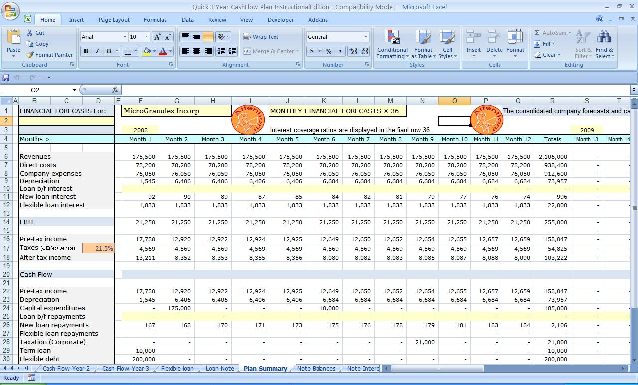 free monthly cash flow plan excel spreadsheet