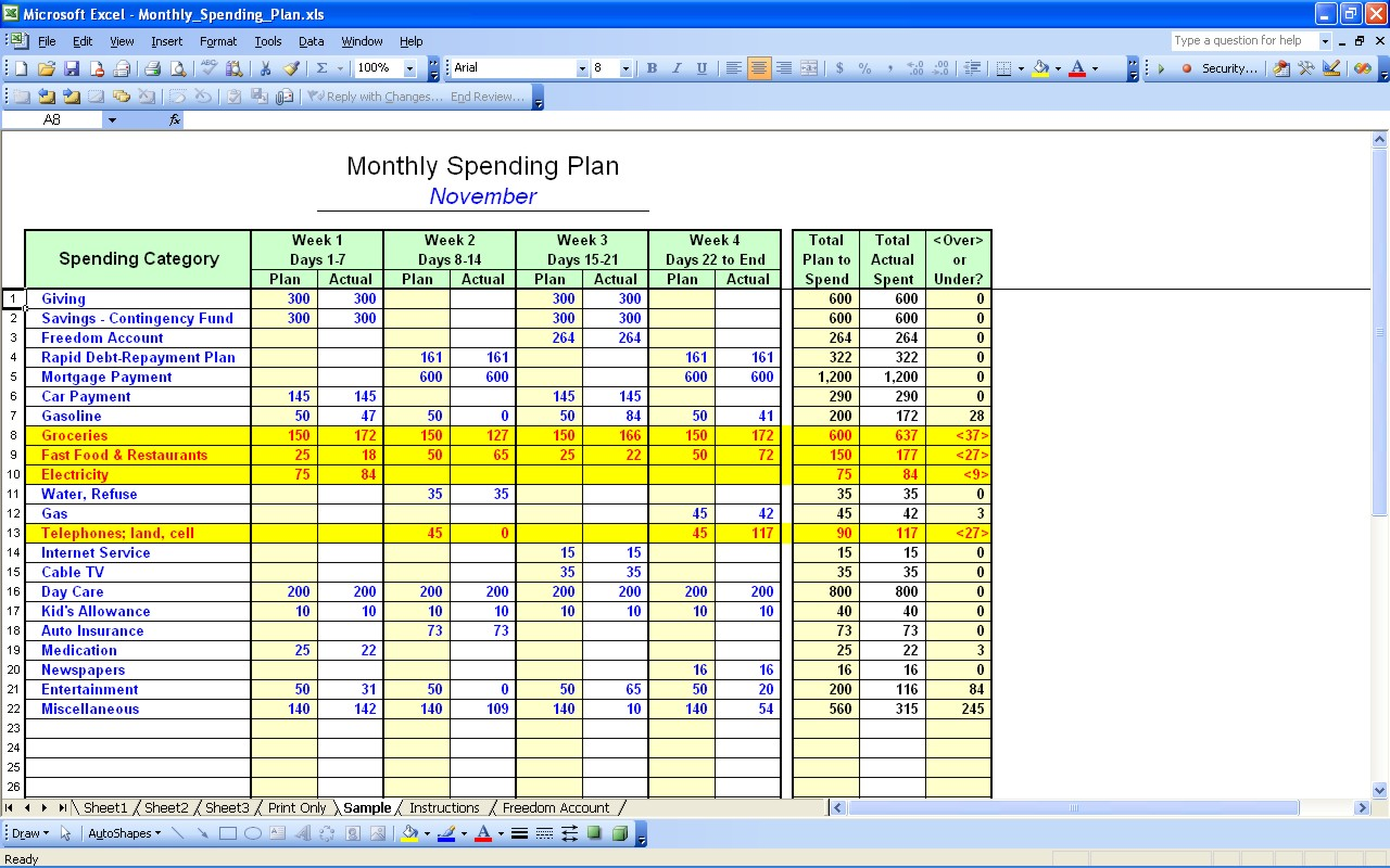 free monthly household budget templates