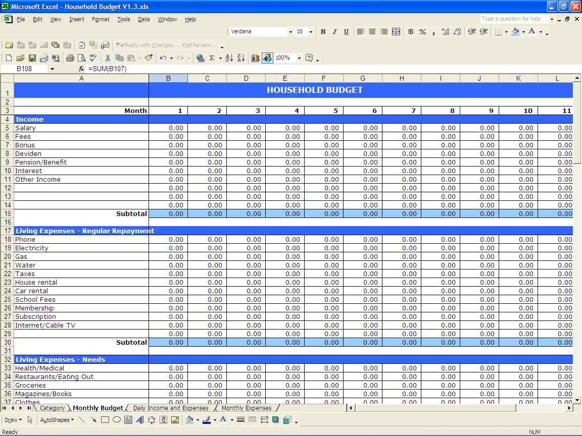 free personal income and expenses spreadsheet