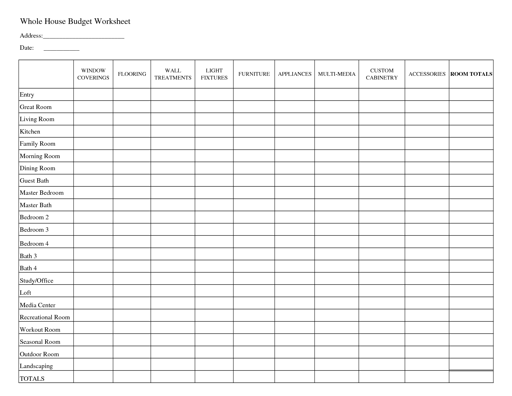 free printable home budget spreadsheet