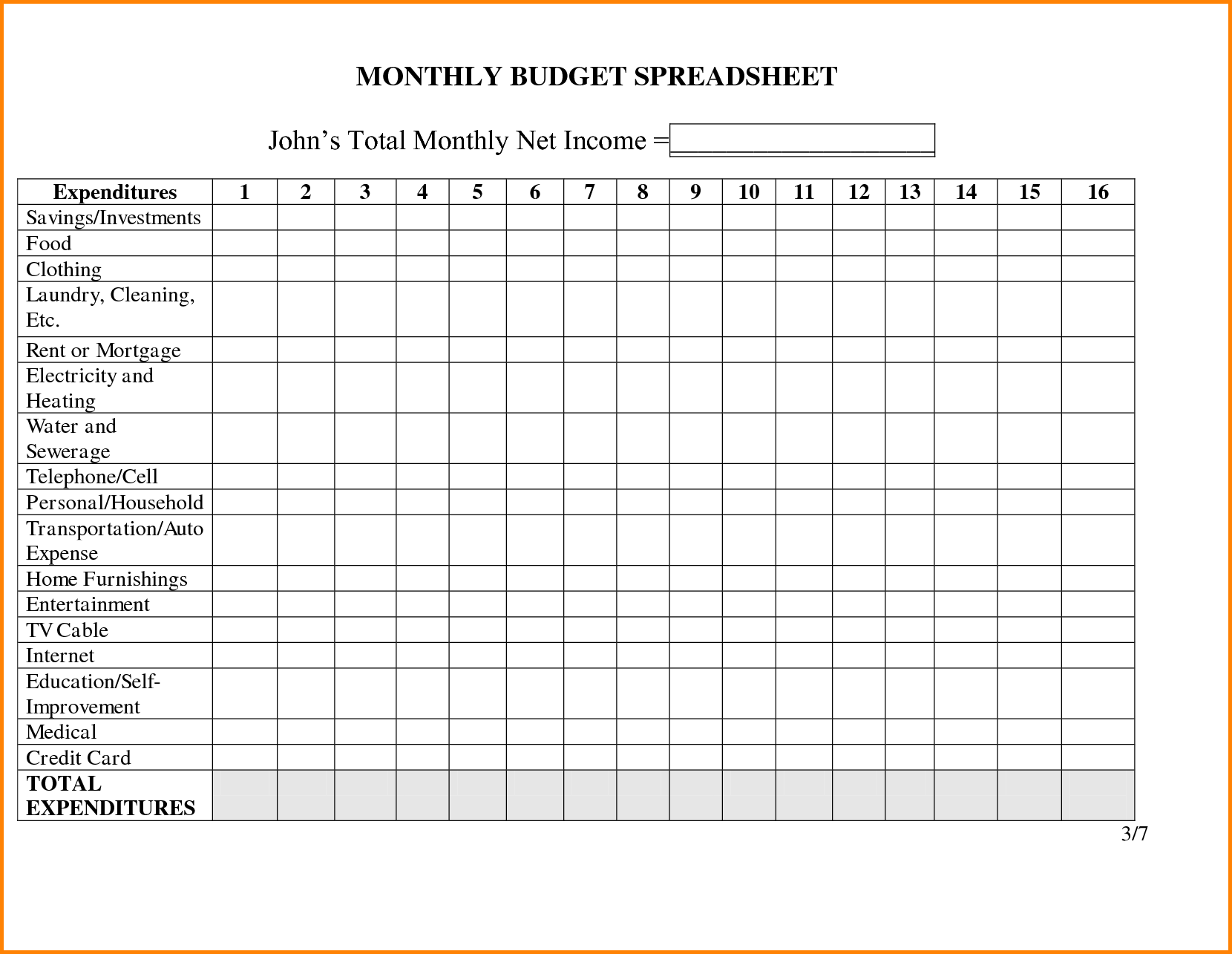 free printable monthly bill spreadsheet