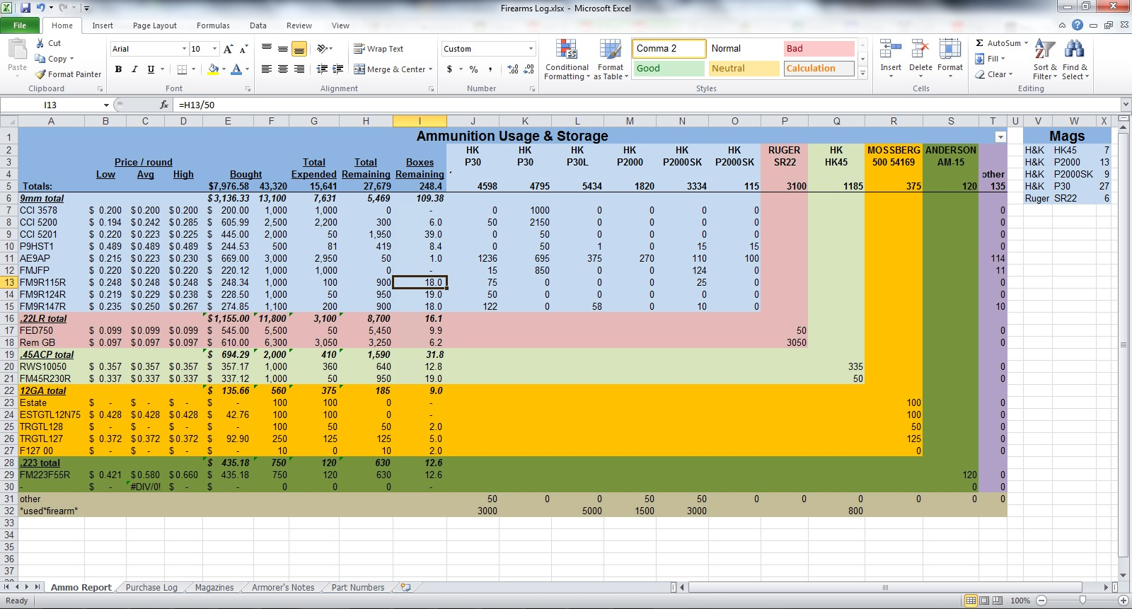 free reloading data spreadsheet