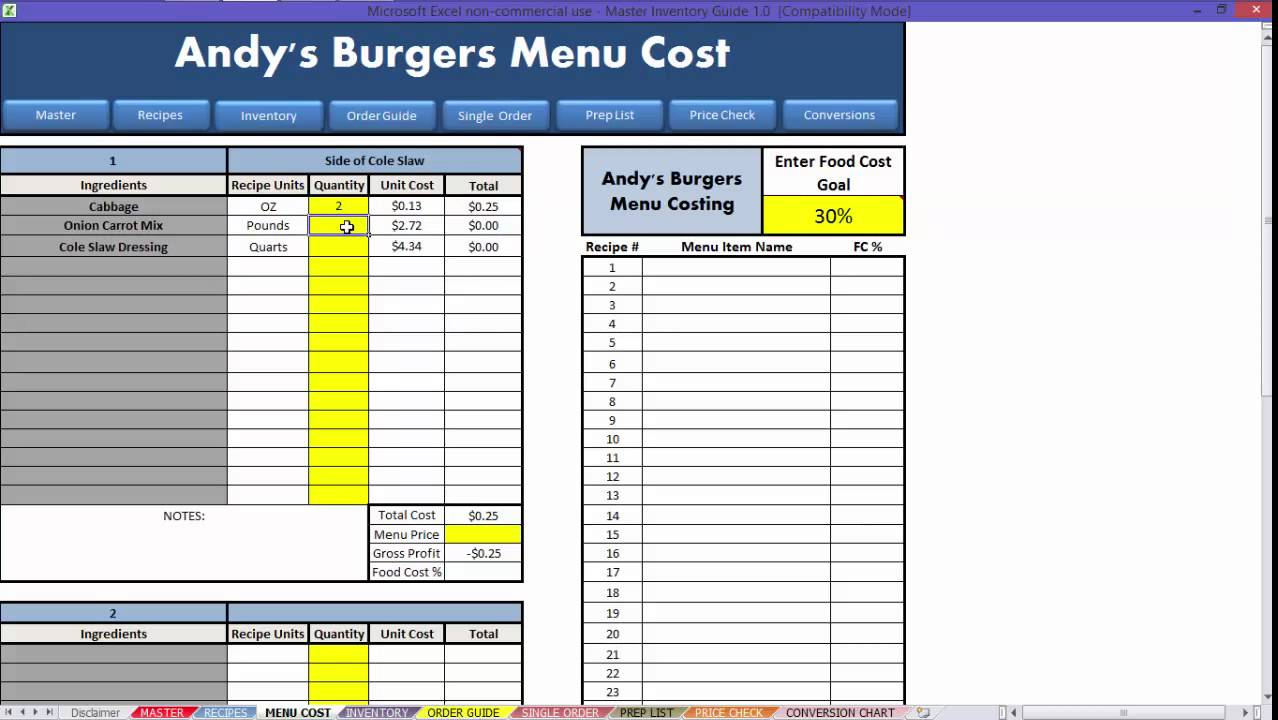 free restaurant food cost spreadsheet