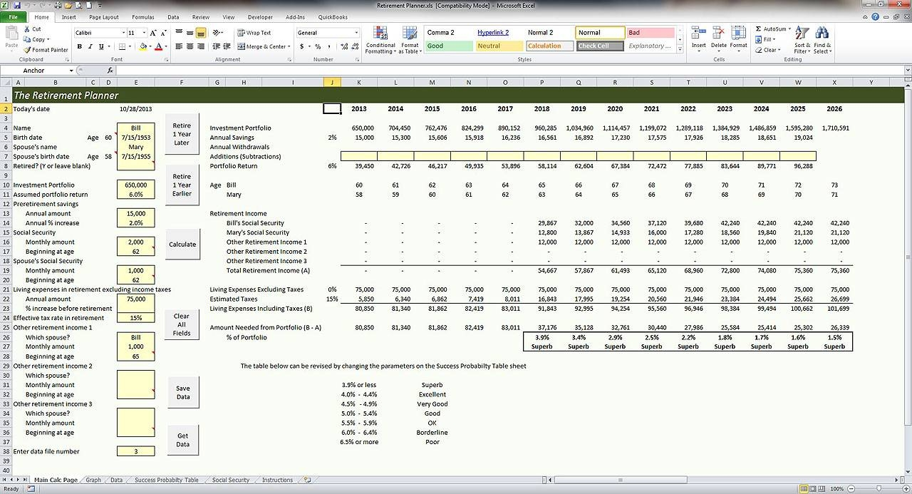 free retirement planning excel spreadsheet download