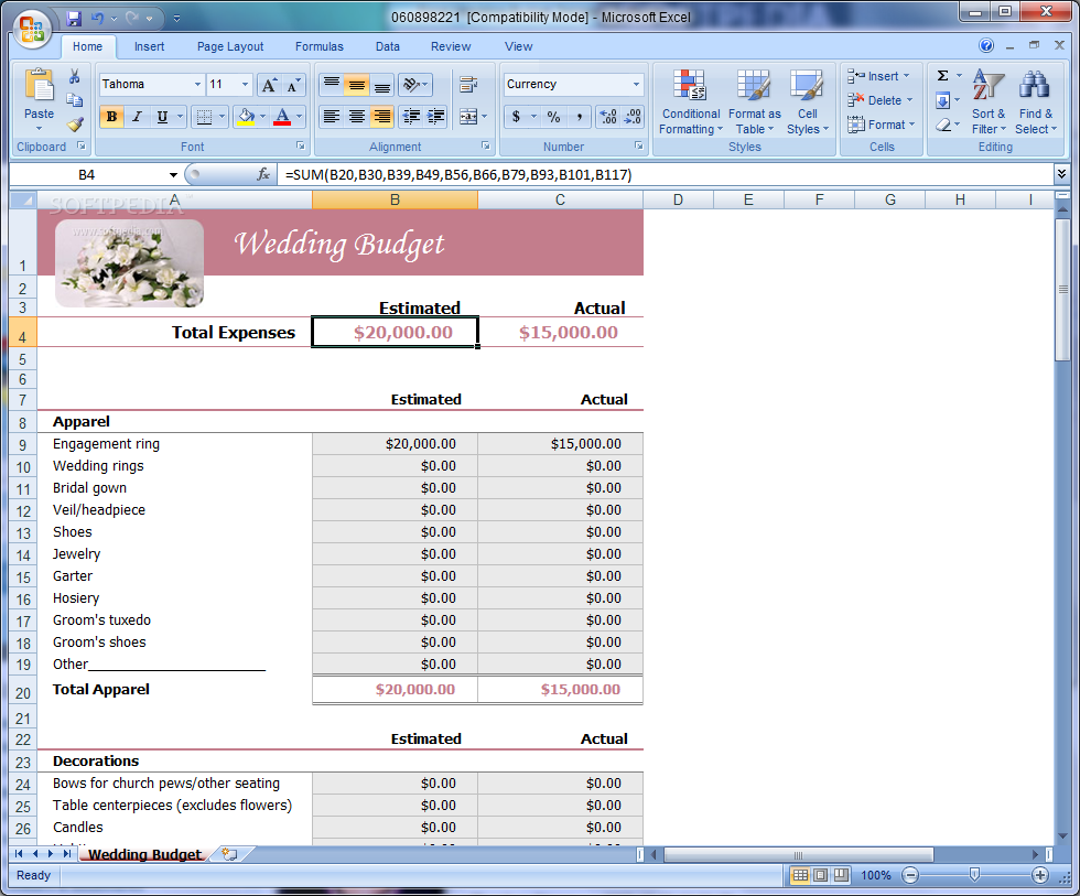 free sample wedding expenses list spreadsheet download
