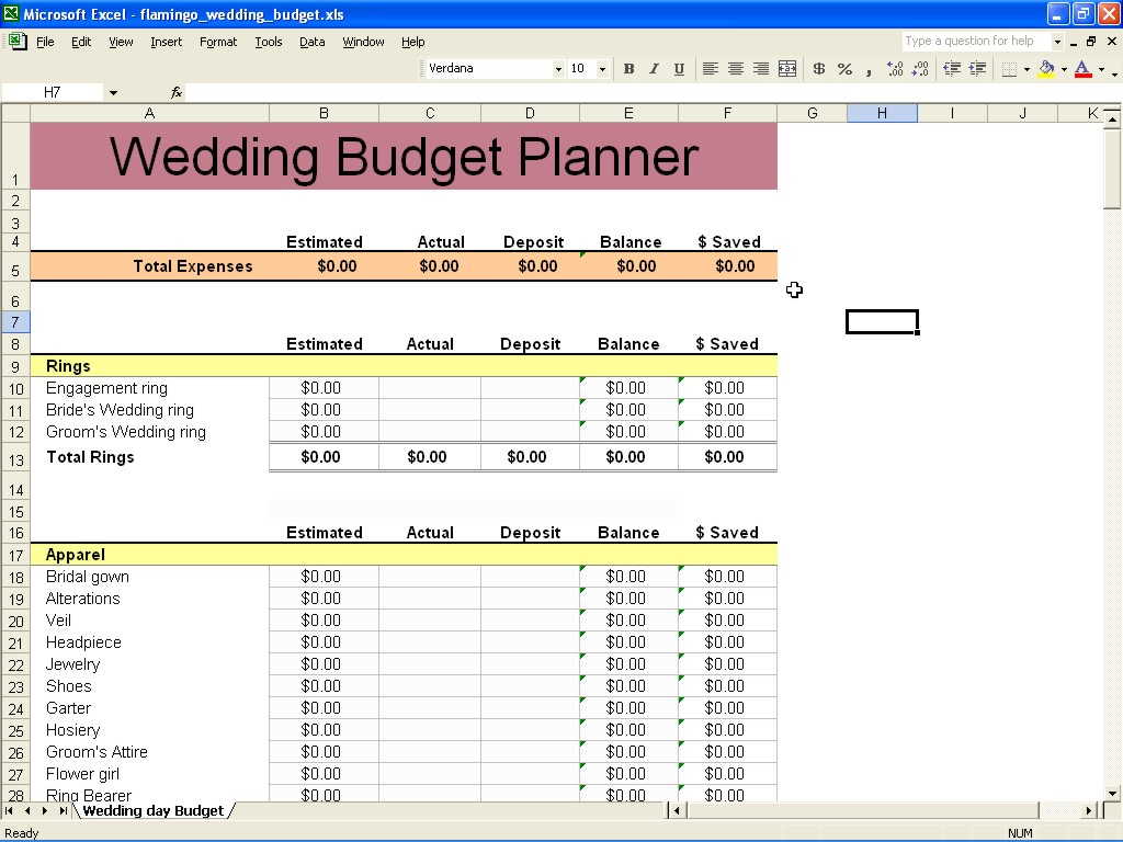 free sample wedding expenses list spreadsheet