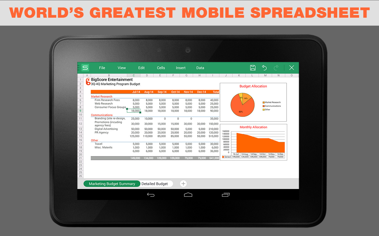 free spreadsheet apps for android