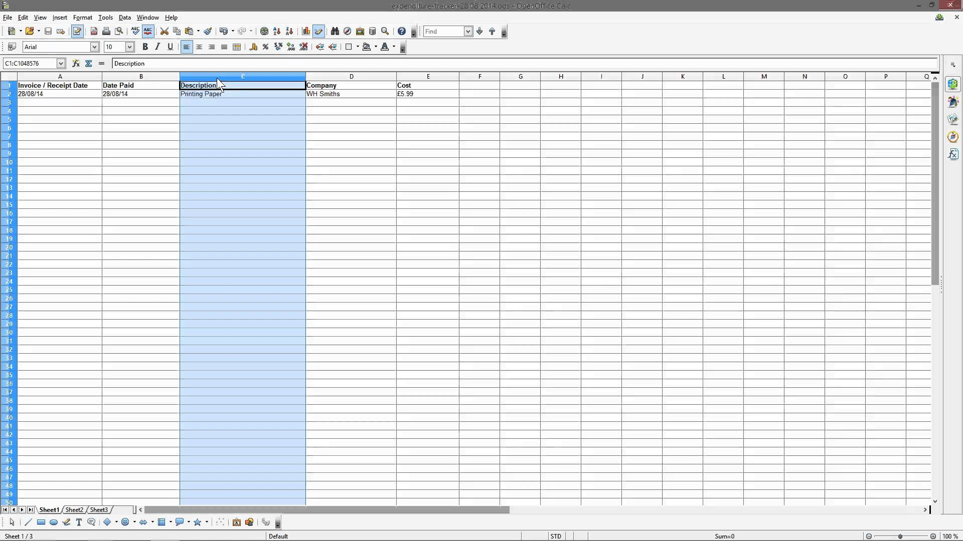 free spreadsheet to keep track of expenses download