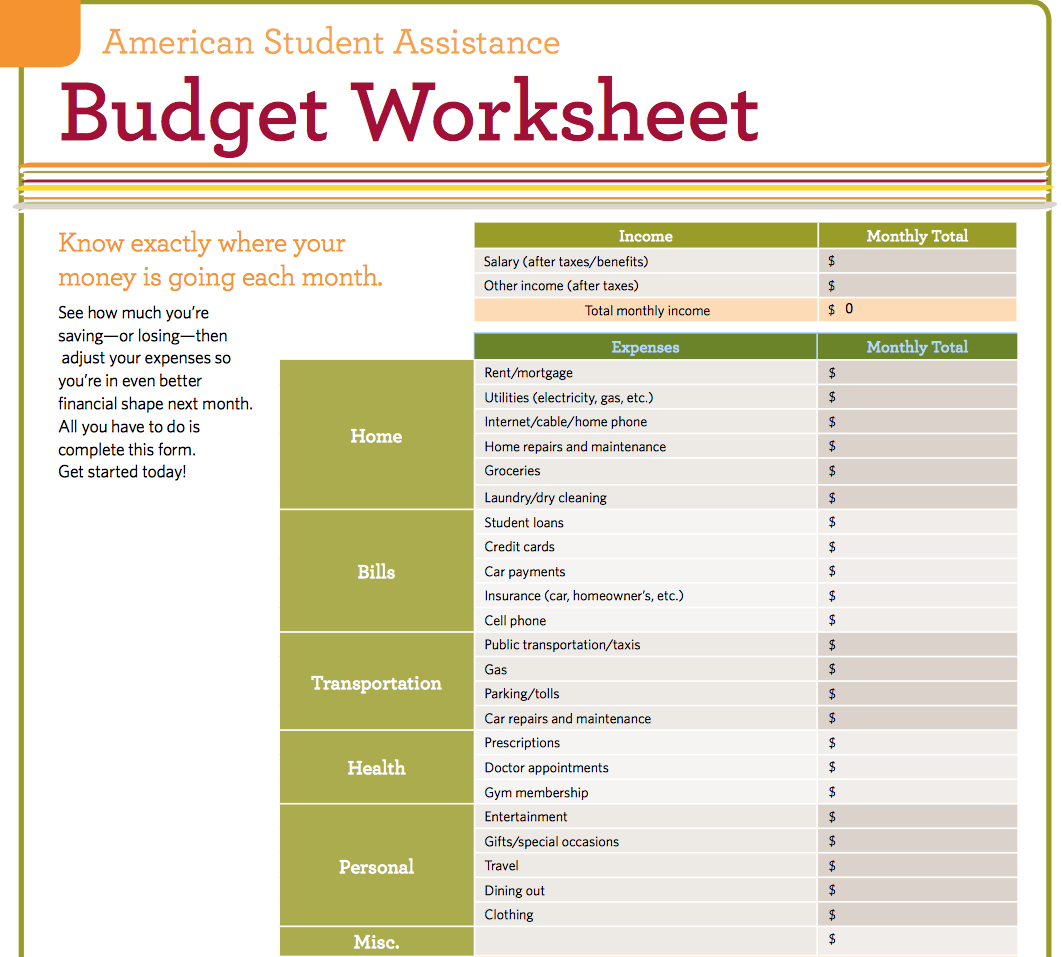 printable budget worksheet for college students | LAOBINGKAISUO.COM
