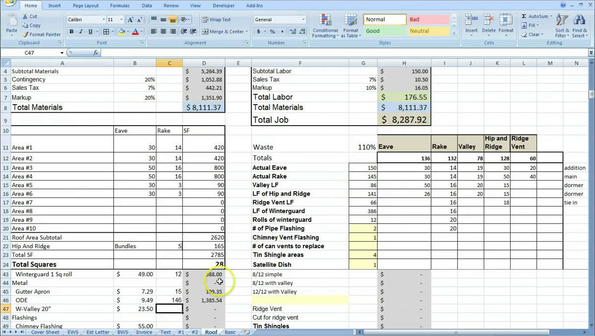 free templates Excel Spreadsheet For Construction Estimating
